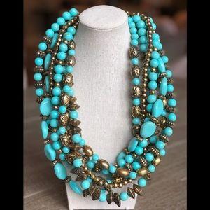Amrita Singh Turquoise Gold Multi Strand Necklace